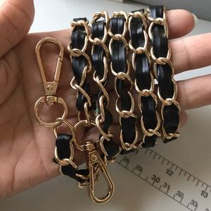Handbags - Gold and Black leather Strap. Inches Length 42-44